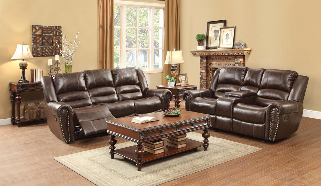 Dark brown bonded leather reclining sofa and loveseat