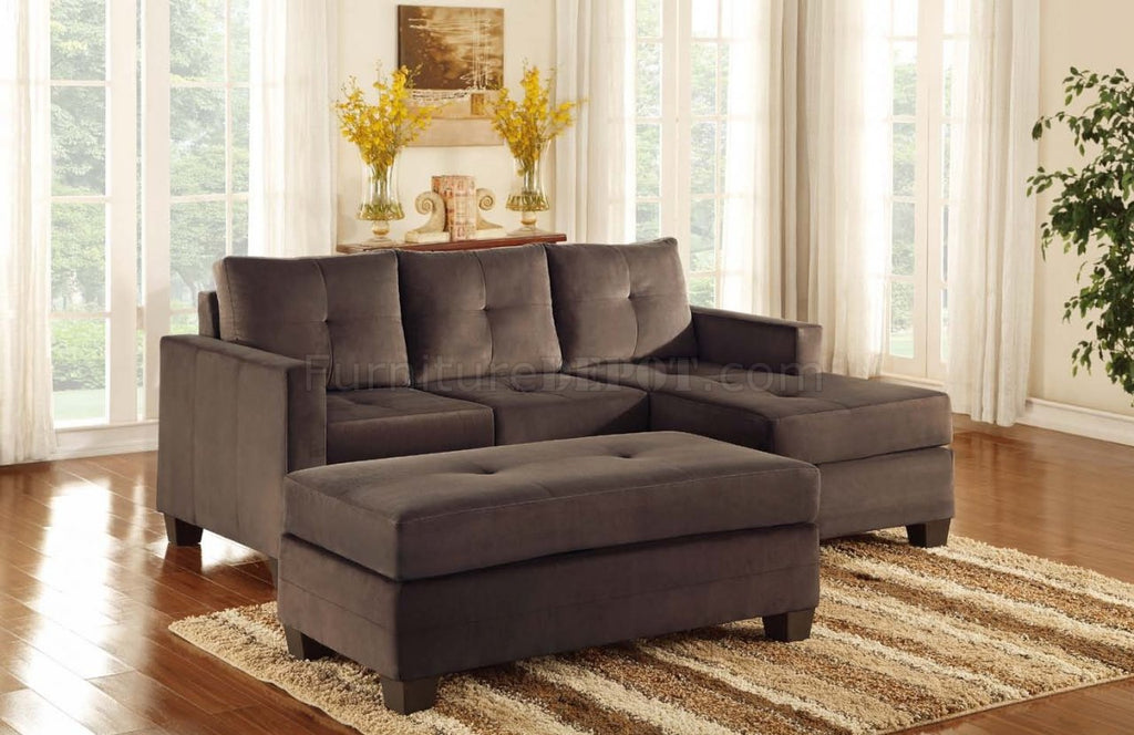 Chocolate brown reversible sectional - Phelps Collection