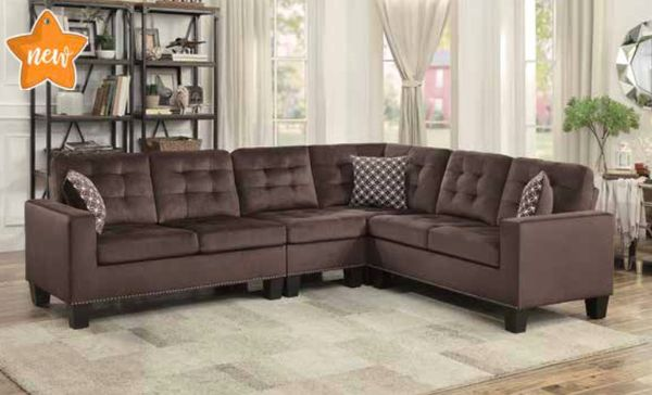 Chocolate Brown Tufted Sectional with Nail Head Trim