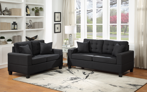 Black Linen Sofa and Love Seat Set