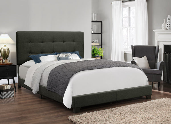 Charcoal Tufted Linen Platform Bed
