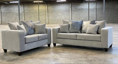 Dove grey sofa and love seat with decorative pillows- new