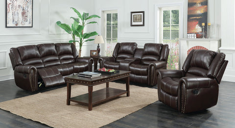 Rich brown leather reclining sofa, loveseat and recliner chair with traditional nailhead accent