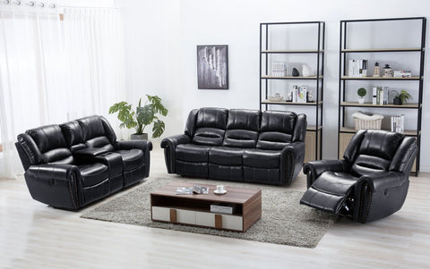 Rich black leather reclining sofa, loveseat and recliner chair with traditional nailhead accent