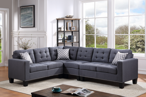Logan grey linen sectional with nailhead trim