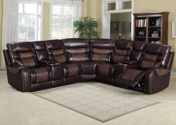 Two Toned Brown Leather Reclining Sectional