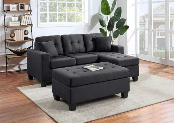 Reversible black linen sectional with ottoman
