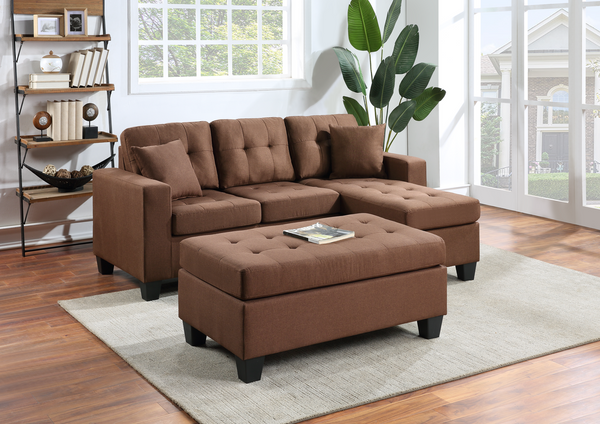 Reversible brown linen sectional with ottoman