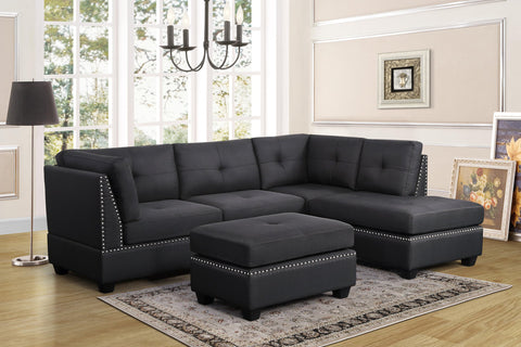 Pewter grey tufted sectional with nailhead accents and ottoman