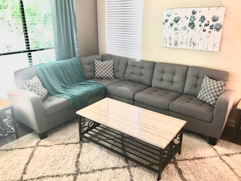 Grey Tufted Sectional with Accent Pillows