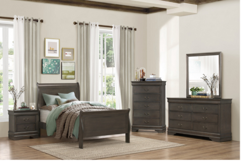 Twin Stained Grey Sleigh Bedroom Set- Mayville Collection
