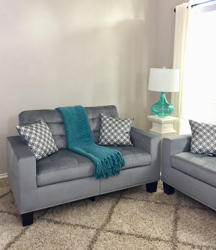Prime Grey Tufted Fabric Loveseat With Nailhead Trim Gamerscity Chair Design For Home Gamerscityorg
