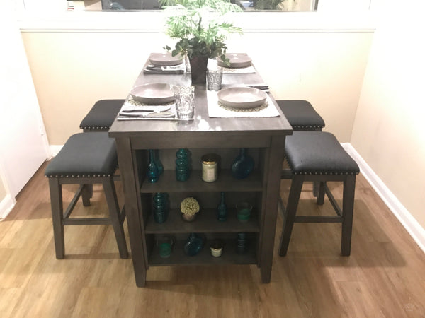 5 piece multifunctional grey counter height dining set