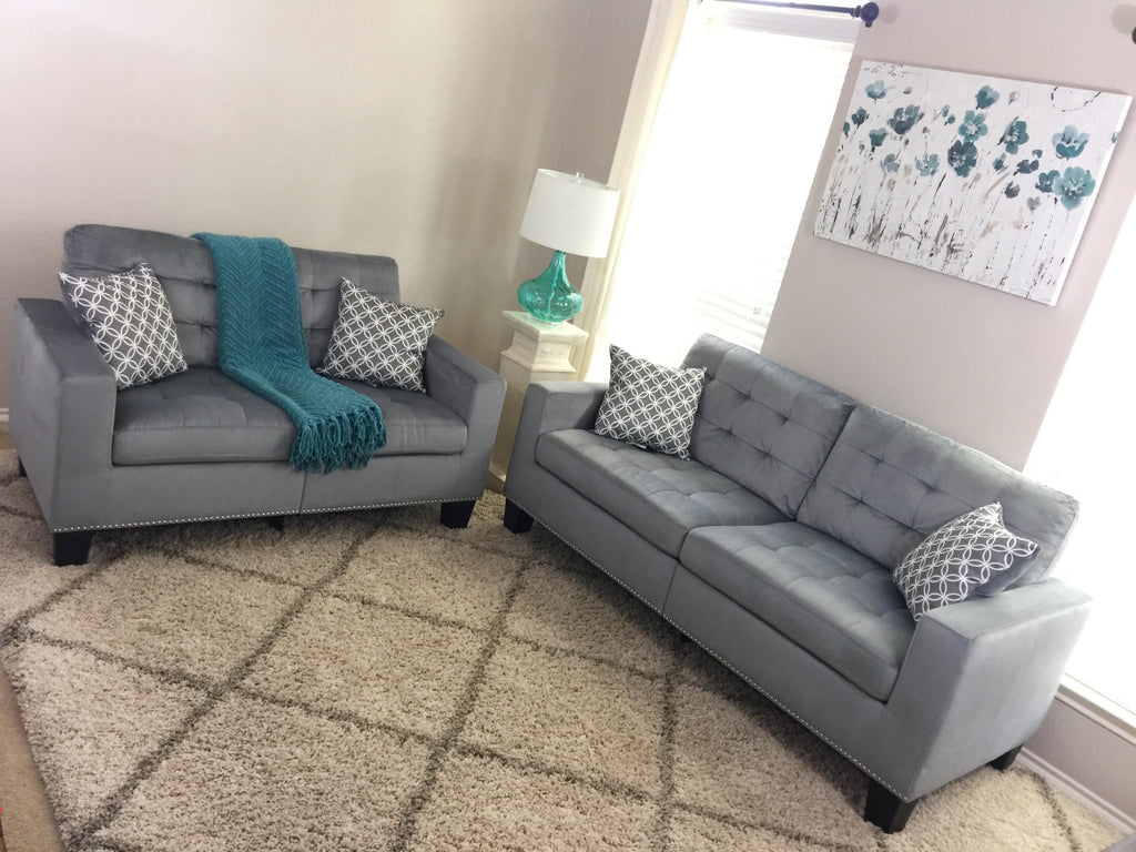 Miraculous Grey Tufted Fabric Sofa And Loveseat With Nailhead Trim Gamerscity Chair Design For Home Gamerscityorg