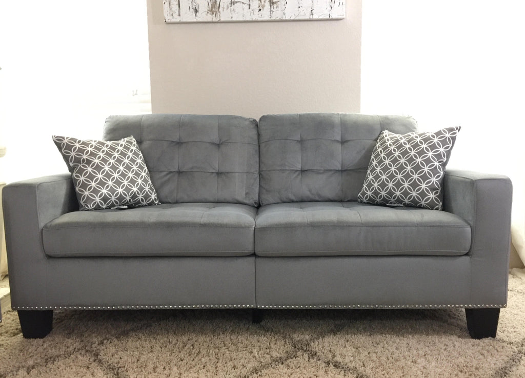 Grey Tufted Fabric Sofa and Loveseat with Nailhead Trim