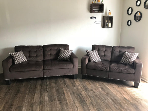 Chocolate Brown Tufted Fabric Sofa and Loveseat with Nailhead
