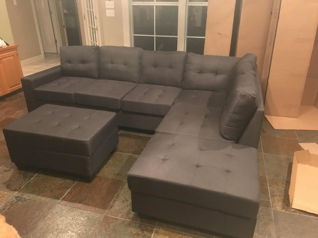 Slate Grey Tufted Sectional With Drop Down Cupholders And