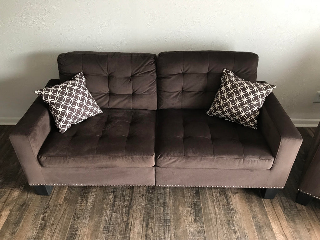 Chocolate Brown Tufted Fabric Sofa Set - Olivia Collection