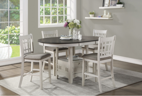 5 piece white counter height dining set