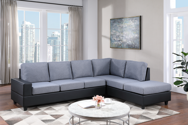 Grey and Black Reversible Sectional
