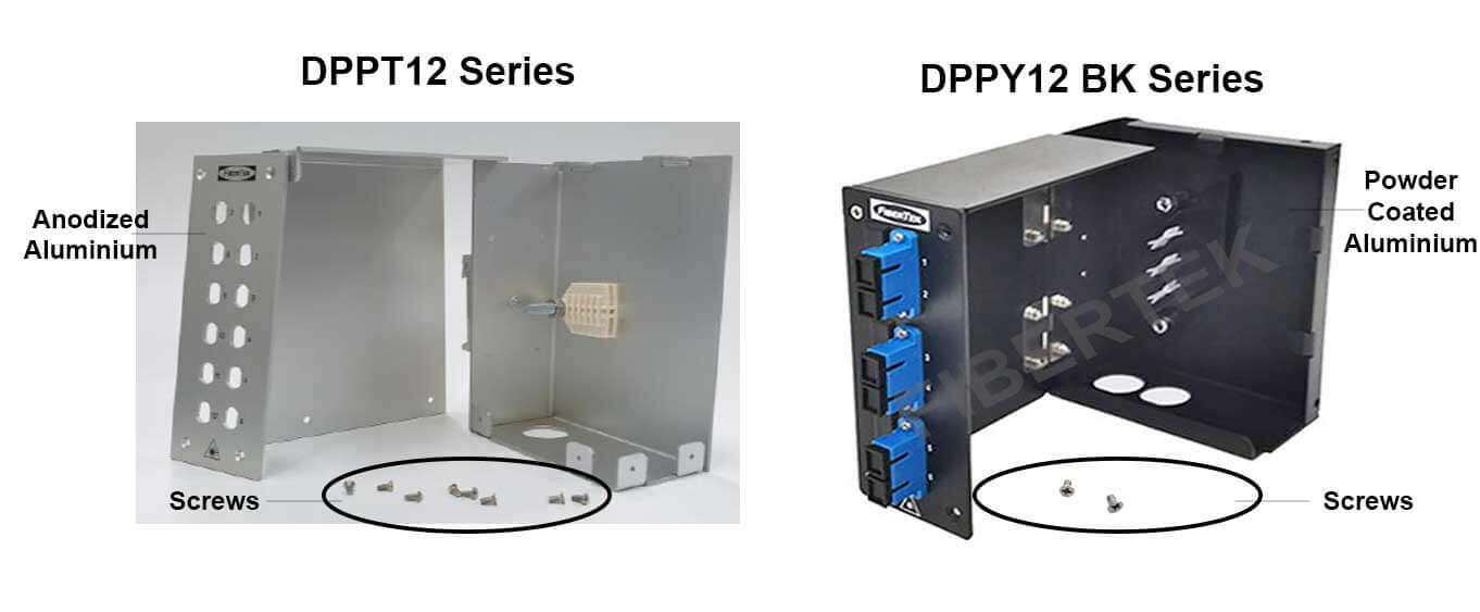 Comparison on the number of screws - DPPT12 and DPPY12 BK Series