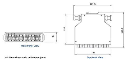 Dimension diagram for DPPTE12 Series DIN Rail Patch Panel