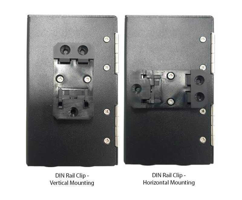 DIN Rail Mounting Clip Positions - Vertical and Horizontal
