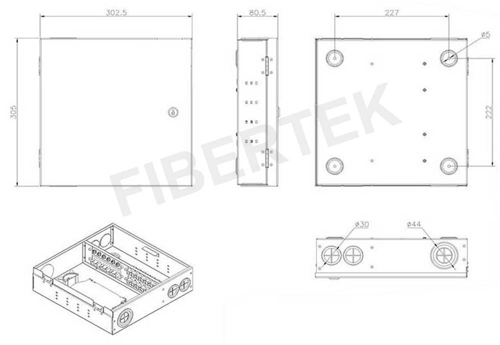 Basic construction with dimensions for FTBT24 Series