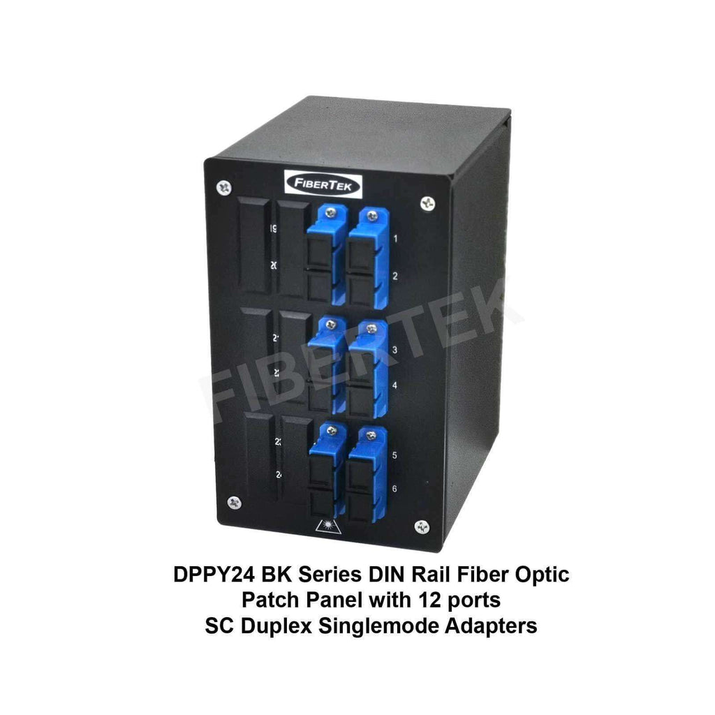 Front view of DPPY24 BK Series with 12 ports SC Duplex Singlemode Adapters