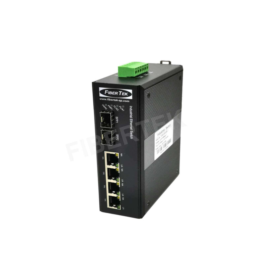 FCNID-4EN-2ES Industrial Fast Ethernet Media Converter Side View