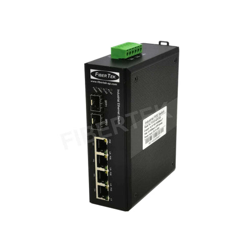 Left side view of FCNID-4GP-2GS Industrial PoE Ethernet media converter