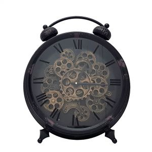 Eddison Exposed Gear Vintage Round Clock Black