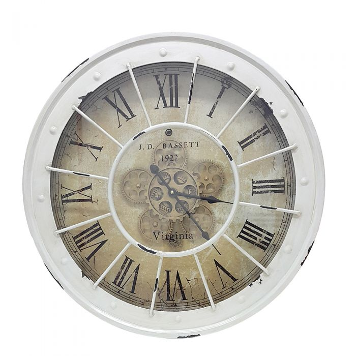 Round Basset Exposed Gear Movement Clock White