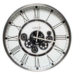 Round London Modern Exposed Gear Movement Clock - White W/Black