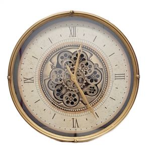 Round Milan Exposed Gear Clock Gold And White