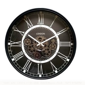 Round Classic London Exposed Gear Clock