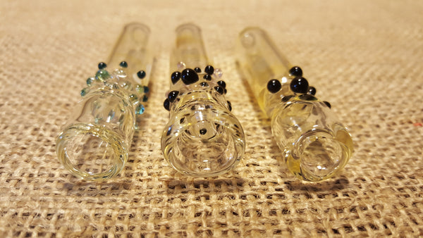 Medium Glass Chillum with Colored Dots