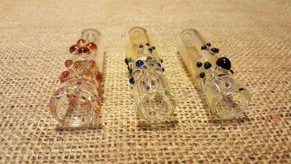 Large Glass Chillum with Colored Dots