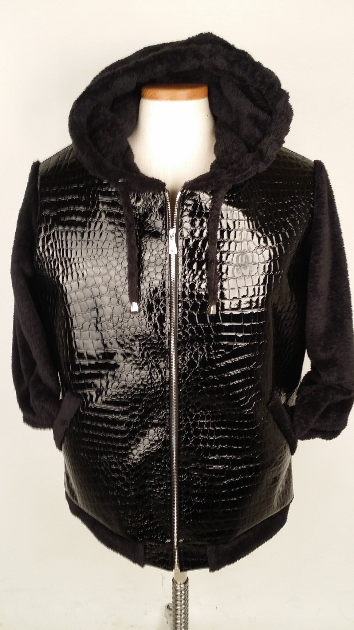 Black Faux Croc and Black Luxe Fleece Men's Hoodie