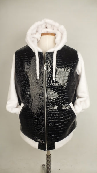 Black Faux Croc and White Cuddle Fleece Hoodie