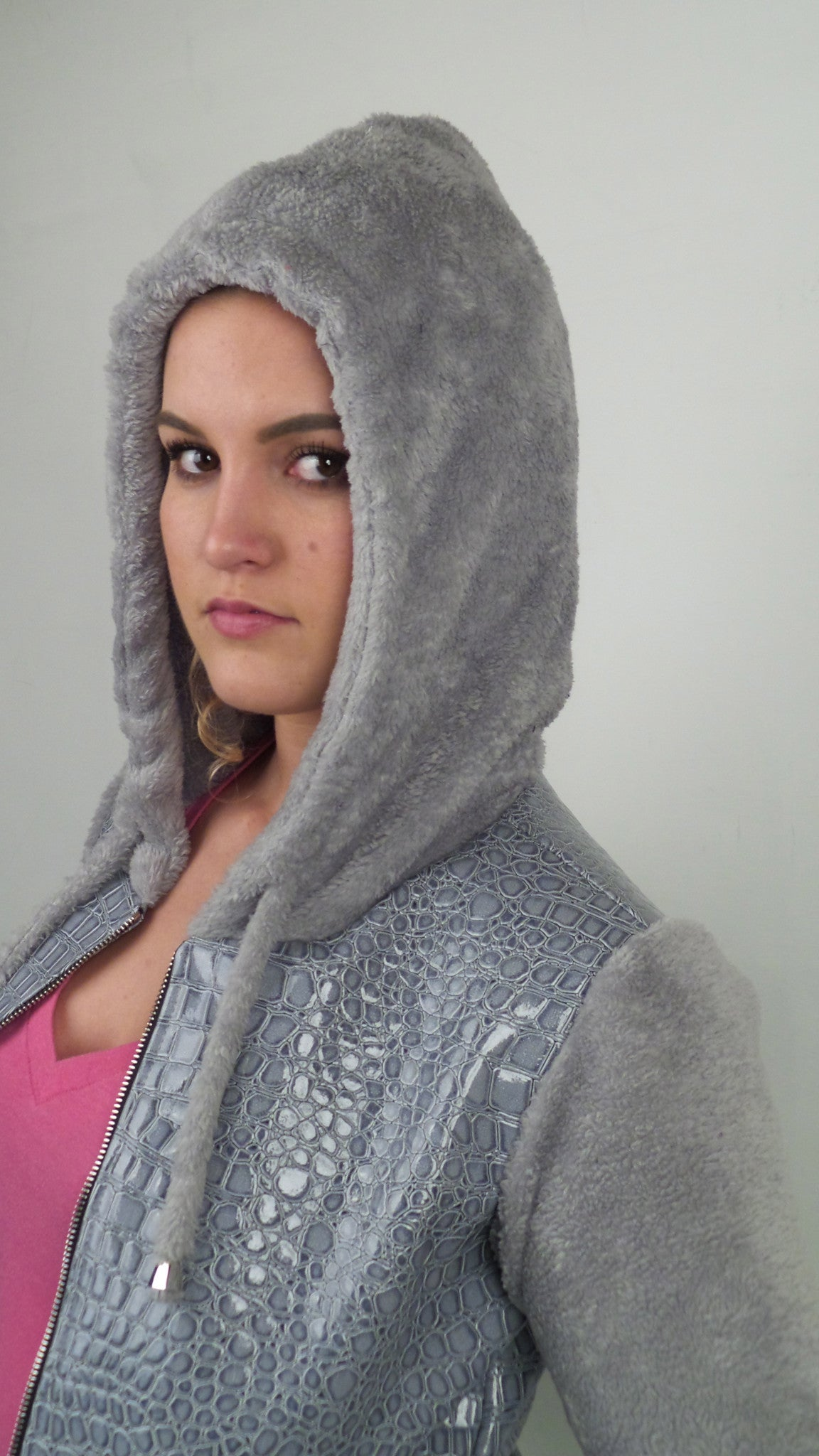 Grey Faux Croc and Grey Cuddle Fleece Hoodie