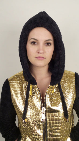 Gold Faux Croc and Black Cuddle Fleece Hoodie