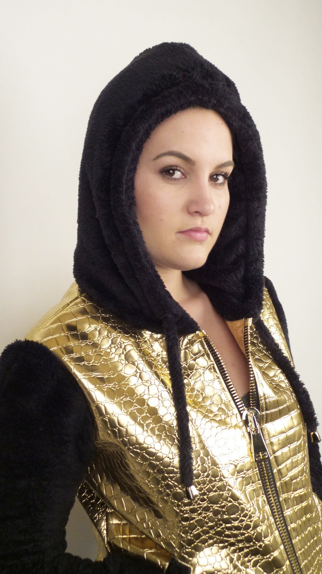 Womens Gold Faux Croc / Black Hoodie - Sample Item