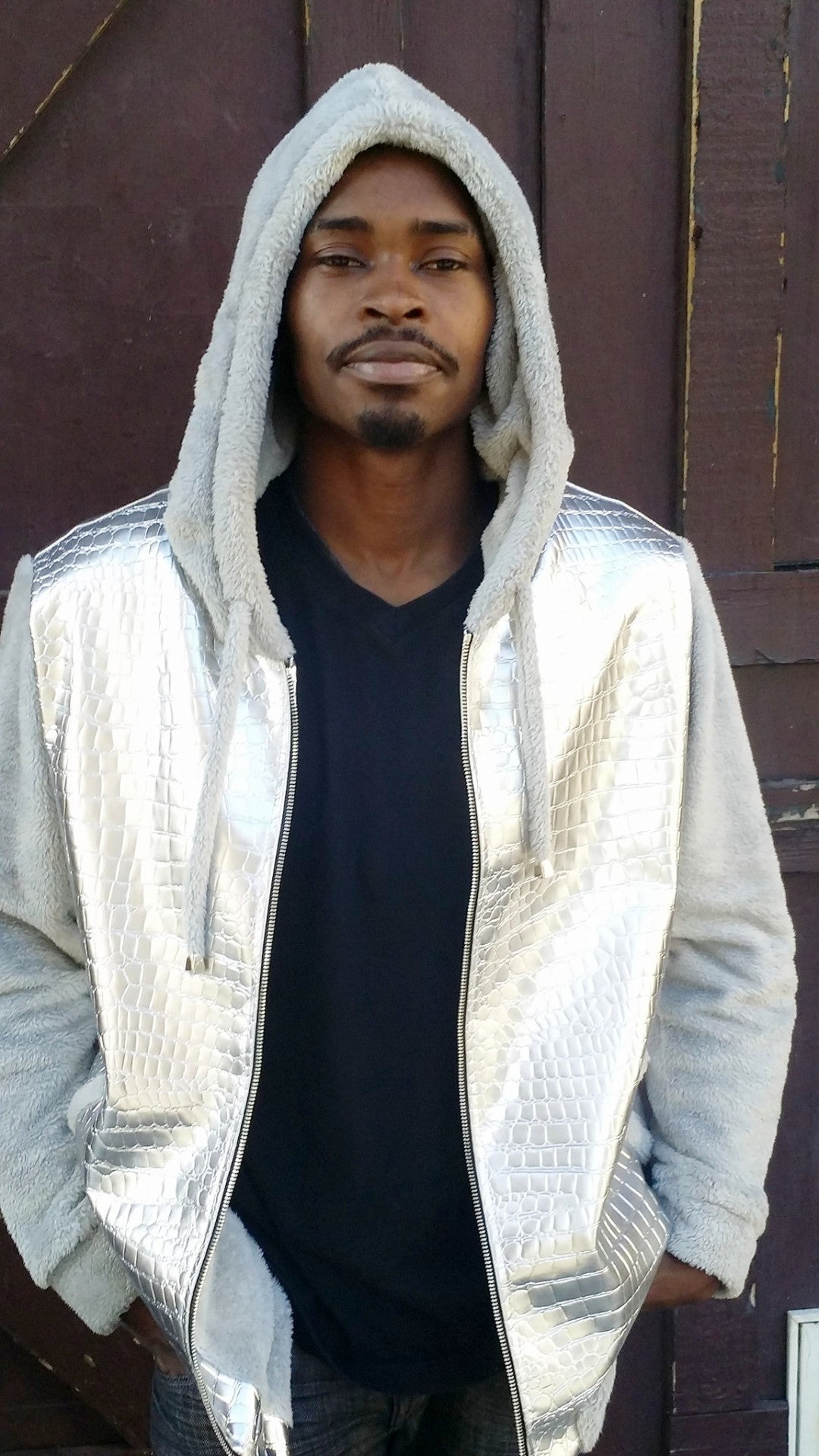 Mens Silver Metallic Faux Croc Hoodie- Sample Item