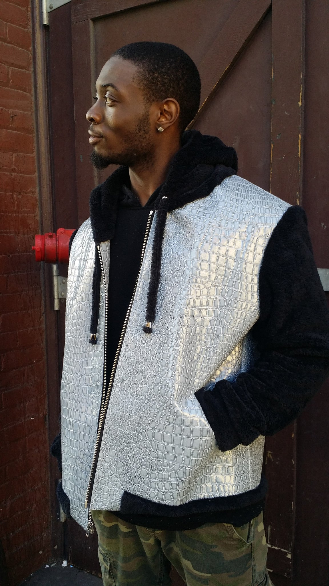 Mens Grey Faux Croc Hoodie - Sample Item