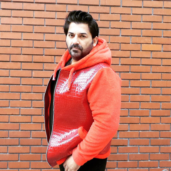 Red Faux Croc and Red Cuddle Men's Fleece Hoodie