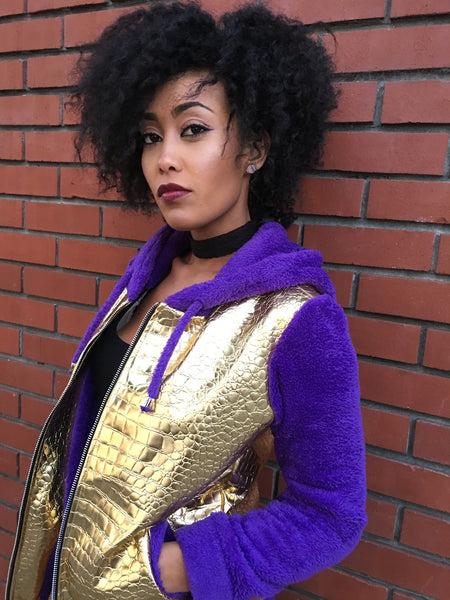 Gold Faux Croc and Purple Cuddle Fleece Hoodie