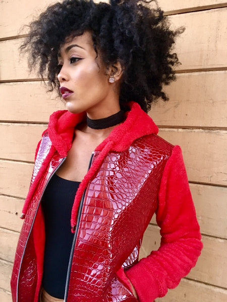 Red Faux Croc and Luxe Cuddle Fleece Hoodie