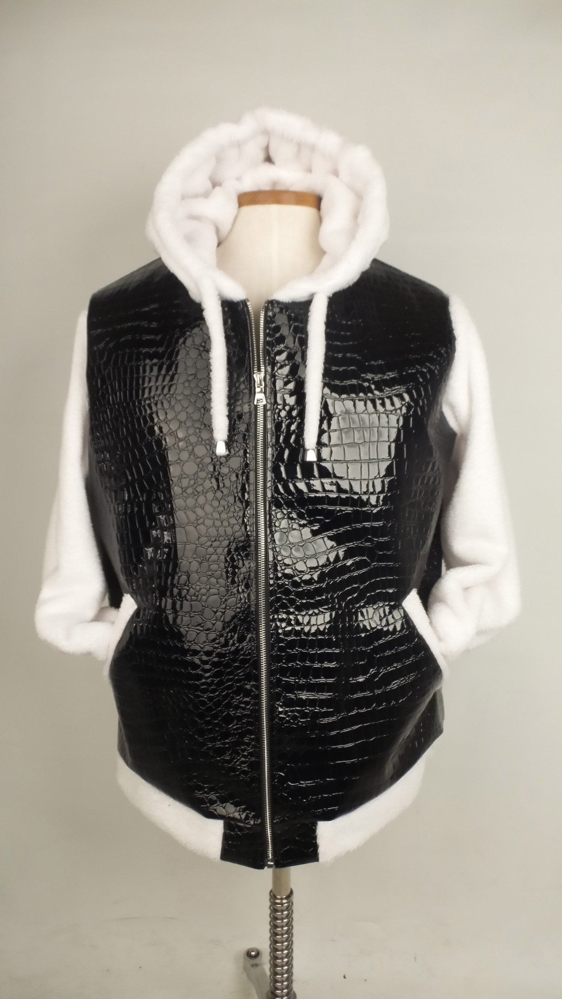 Womens Black Faux Croc / White Hooodie- Sample Item