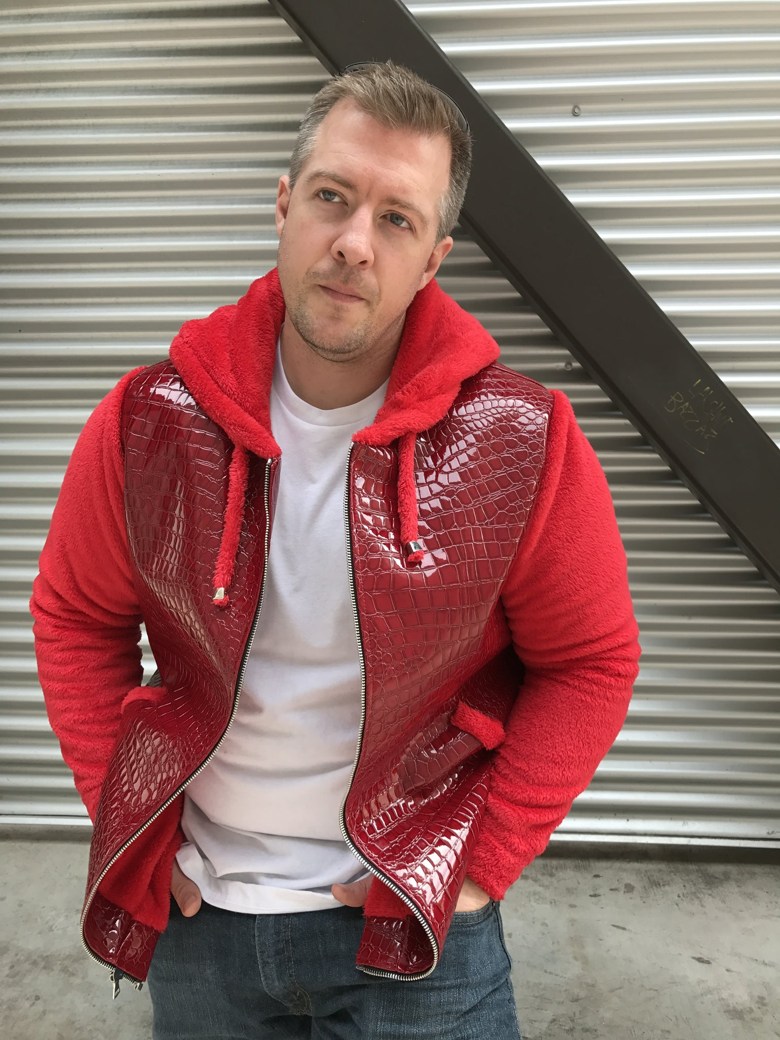 Mens Red Faux Croc Hoodie - Sample Item